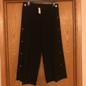 Loft Cropped Wide Leg Pants with Button Detail